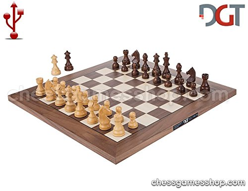 (DGT USB Walnut e-Board with Timeless pieces - Electronic chess)