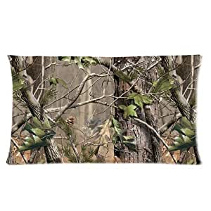 Custom Cotton & Polyester Soft Rectangle Pillow Case Cover 20X36 (Two Side) - Camouflage Camo Tree Hunter Dry Branches Leaves Woodland Camo Vintage Retro Personalized Pillowcase