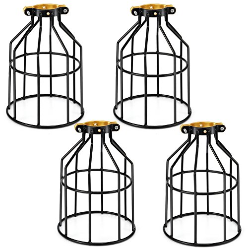 Kohree Metal Bulb Guard Lamp Cage, for Pendant Light, Lamp Holder, Ceiling Fan Light Bulb Covers Vintage Open Style Industrial Grade Adjustable 4 Packs(Cage ONLY)