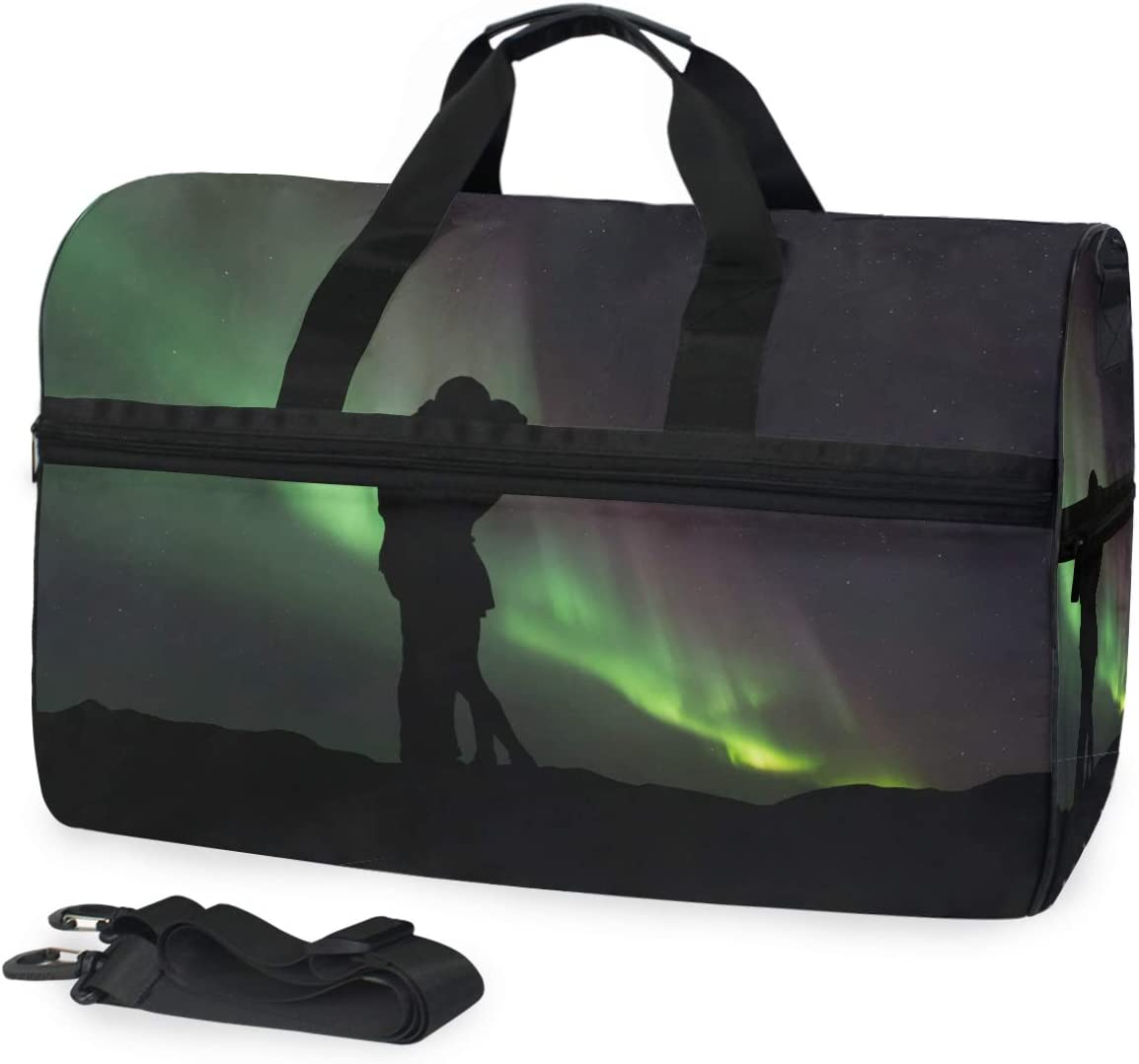 MUOOUM Green Aurora Love Couple Silhouette Large Duffle Bags Sports Gym Bag with Shoes Compartment for Men and Women