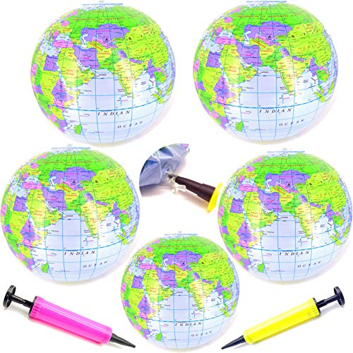 Guaishou Inflatable World Globe 16 Inch PVC Political Topographical Globes Earth Beach Ball for Beach Playing Party Decorations 7 Pack ()