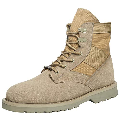 Colmkley Men's Military Army Flight Tan Desert Boots Combat Outdoor Work Shoes