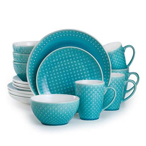 EuroCeramica 16 Piece Teal Palma Dinnerware Set, Turquoise