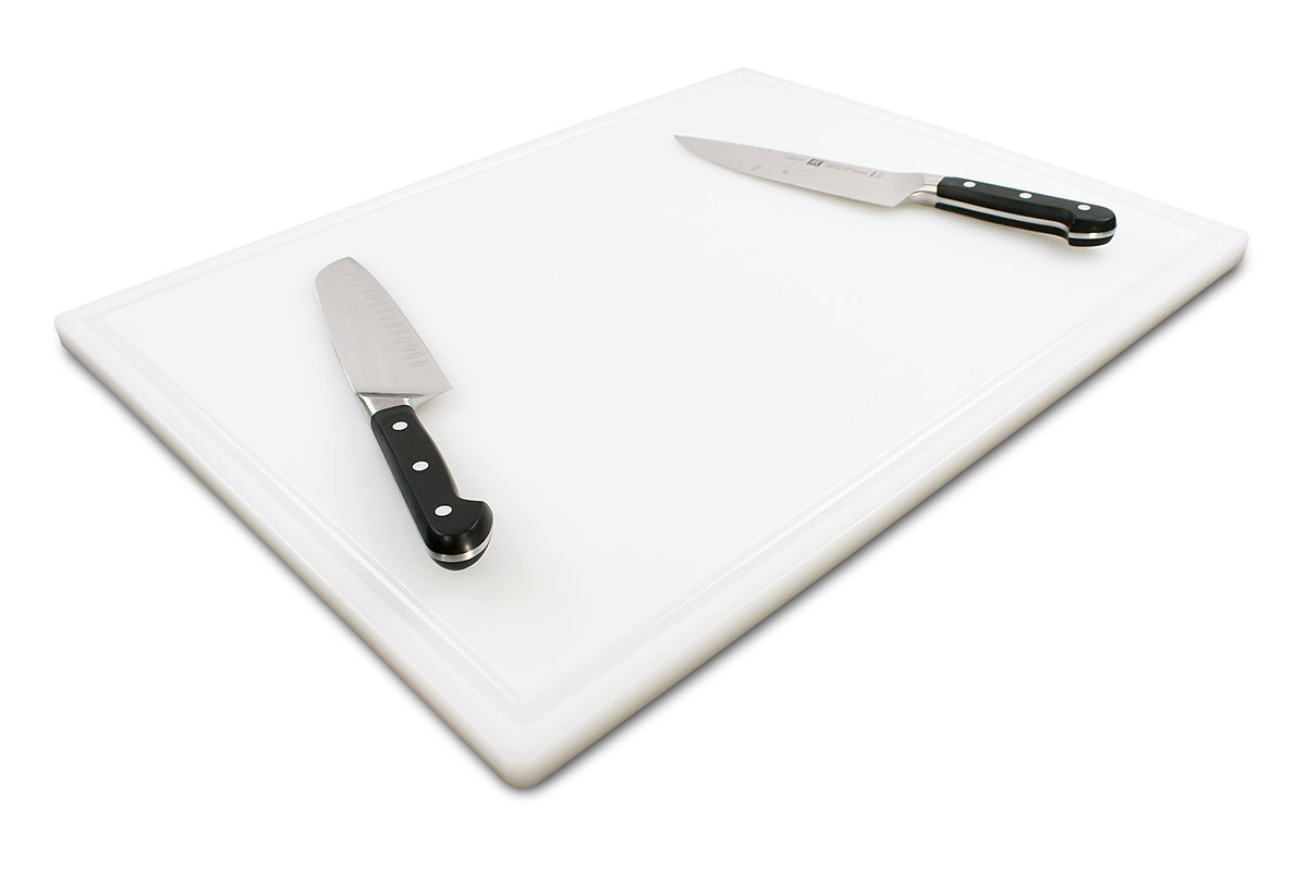 Commercial Plastic Carving Board with Groove, NSF Certified, HDPE Poly (24 x 18 x 0.75 Inch, White) by Thirteen Chefs (Image #1)