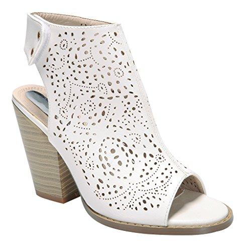 WestCoast Webber-03 Women Leatherette Peep Toe Stencil Block Heel Velcro Mule White 10