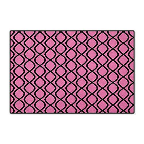 Hot Pink,Door Mats for Inside,Vertical Wavy Lines Tangled Stripes Curves Girlish Feminine Design Cute Modern,3D Digital Printing Mat,Pink Black,Size,20
