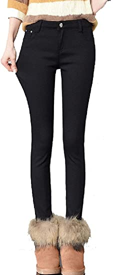 Nicellyer Womens Mid Waist Fleece Fall Winter Thickened Warm Trim-Fit Jeans