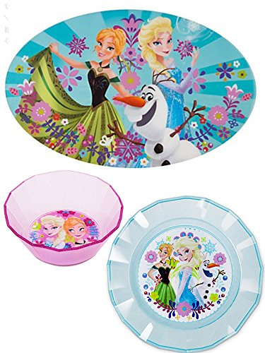 [Disney Frozen Elsa Anna Olaf Dinner Set with Placemat, Plate, and Bowl] (Disney Frozen Placemat)