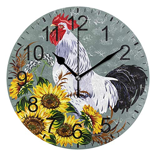 Rooster Cock with Sunflower Wall Clock Decorative Living Room Bedroom Kitchen Battery Operated Round Clock Art for Home Decor Unique