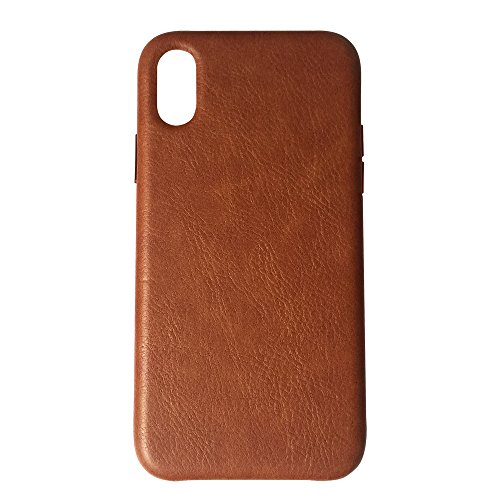 Soft iPhone X Phone Case Leather/TPU, Gulee Premium Leather Flexible Back Cover Silicone Hybrid Phone Cover Case for iPhoneX Apple, Slim Fit (Brown) -