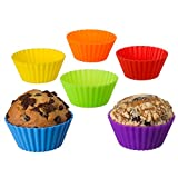XXL Jumbo Silicone Baking Cups - NO PLASTIC FILLERS Passes the PINCH TEST! LFGB AND FDA Standard -Stand Alone Or In Muffin Pan (6, Rainbow)