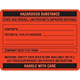 Caution Labels in Blister Packs''HAZARDOUS SUBSTANCE HANDLE WITH CARE'' Orange with black text and blank areas to be filled in 2.625''W x 2''H