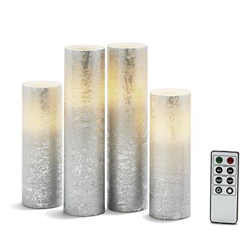 Silver Flameless Pillar Candles - Tall Set of