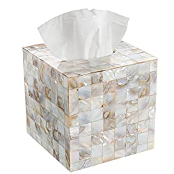 Creative Scents Square Tissue Holder - Decorative Tissue Box Cover is Finished in Beautiful Mother of Pearl Milano Collection