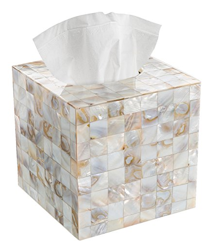 Creative Scents Square Tissue Holder - Decorative Tissue Box Cover is Finished in Beautiful Mother of Pearl Milano Collection (Soap Box Luxury)