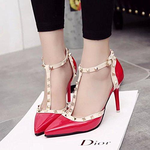 punta yalanshop con di pelle 37 alta rosso tacco bene le Baotou tacco scarpe Rivetto di alta in sandali scarpe verniciata di con qvvIYw