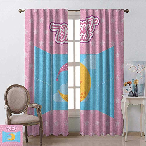 Sweet Dreams, Kitchen Curtains Valances, Pink Starry Backdrop with Open Window and Sleeping Moon in Sky, Curtains Kids Bedroom, W108 x L96 Inch, Pink Yellow and Pale Blue
