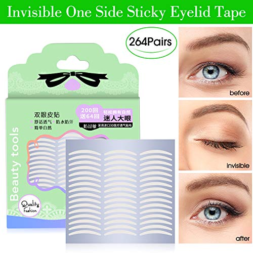 528Pcs/264Pairs Slim Natural Invisible One Side Sticky Double Eyelid Tapes Stickers, Instant Eyelid Lift Without Surgery, Perfect for Hooded, Droopy, Uneven, or Mono-eyelids (Best Invisible Eyelid Tape)