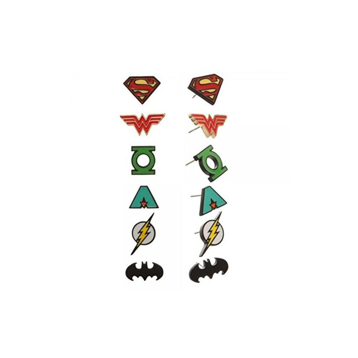 DC Comics Classic Justice League 6 Pair Stud Earring Set w/Gift Box by Superheroes Brand