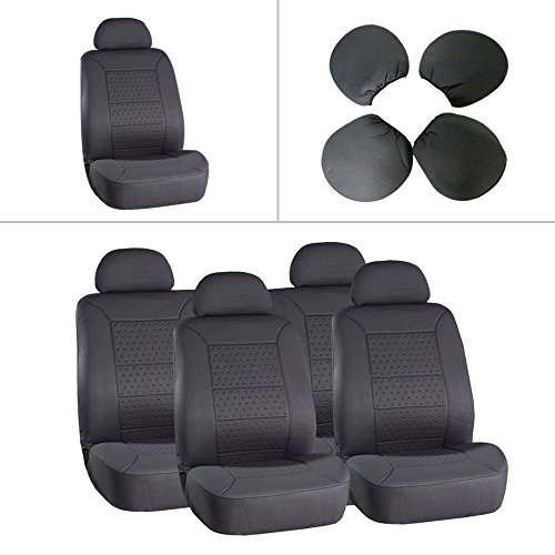 ECCPP Universal 5MM Padding Soft Car Seat Cover w/Headrest – 100% Breathable Embossed Cloth Stretchy Durable Gray for Most Cars Trucks Vans