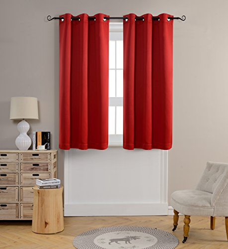 MYSKY HOME Grommet top Thermal Insulated Window Blackout Curtains, 42 x 63 Inch, Red, 1 Panel