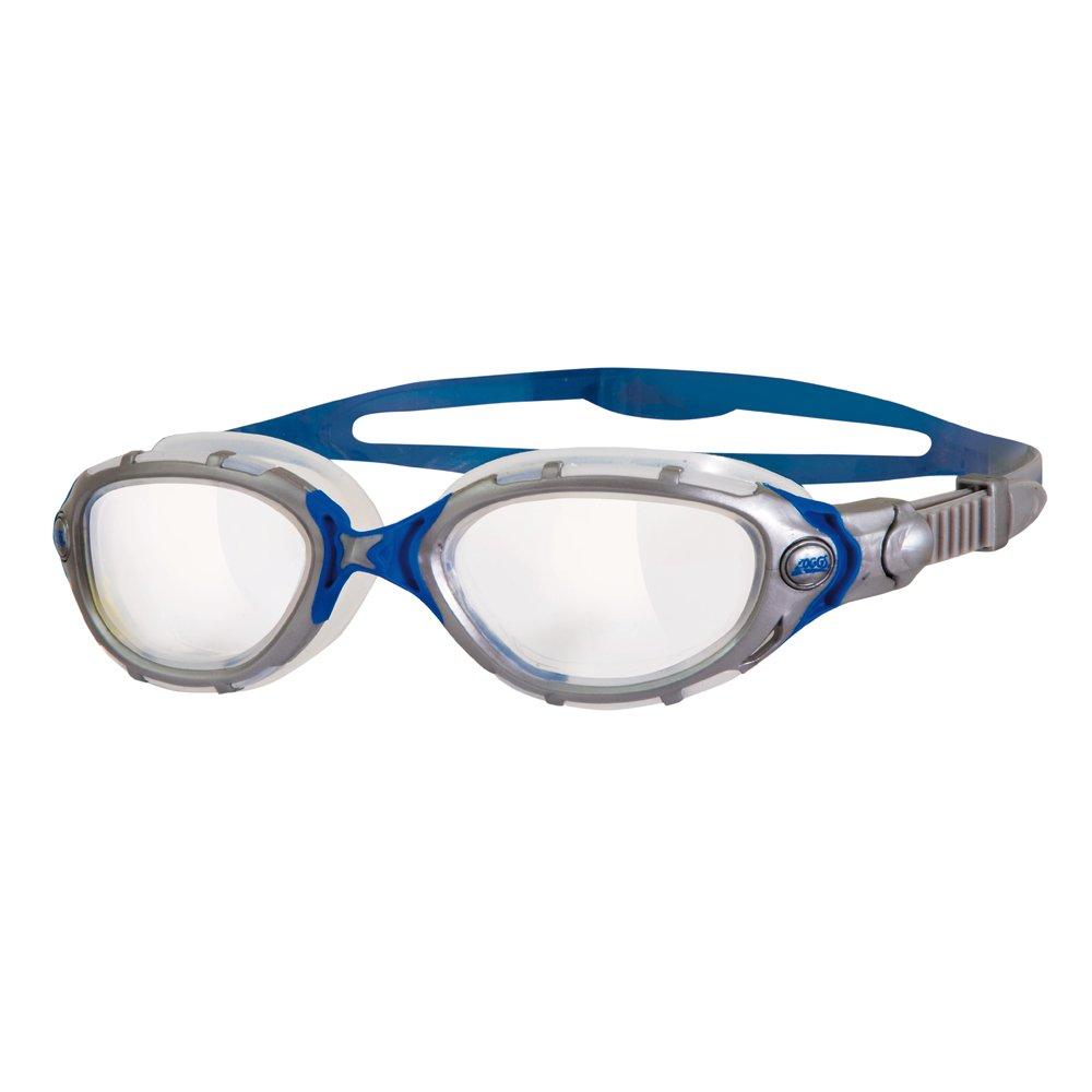 Zoggs Predator Flex Occhialini da Nuoto, Clear/Argento/Blu Predator Flex Clear Silver