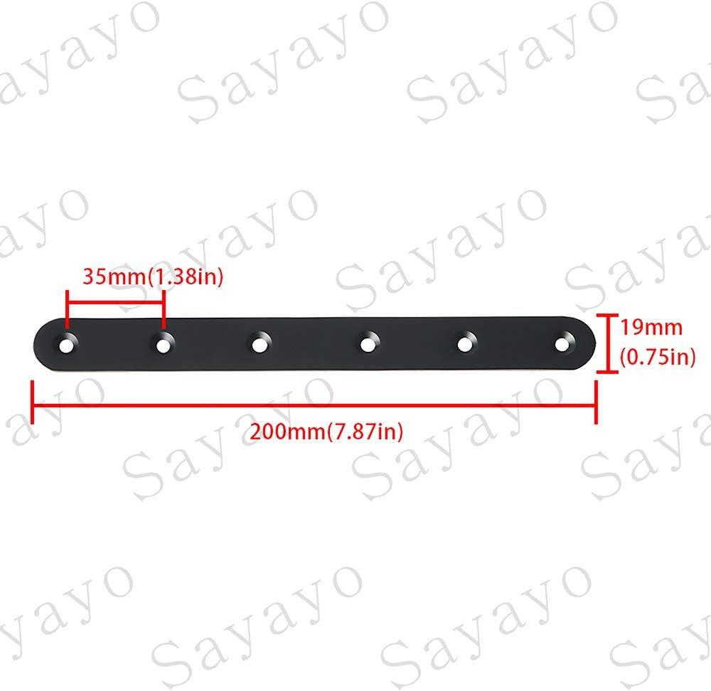 Sayayo EJ200X19B-4P acabado negro mate 4 unidades Soportes rectos planos para reparaci/ón de placas de uni/ón para madera de 200 mm