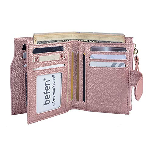 Befen Women's RFID Blocking Luxury Full Grain Genuine Leather Bifold Trifold Wallet Multi Card Organizer Holders for Ladies (Rose Gold RFID Wallet Small) ()