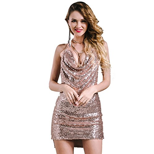 Missord Women Sexy sleeveless Deep-V backless halter sequin necklace dress Rose GoldX-Small