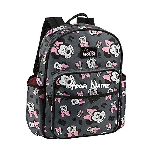 Personalized Disney Minnie Mouse Expressions Pink and Grey Print Multi-Pocket Baby Girl Backpack Book Bag Diaper Bag Gift Set - 3 Piece Set