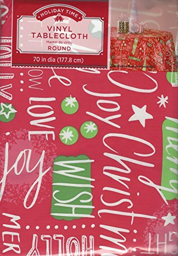 Holiday Time Vinyl Christmas Tablecloth Easy Care Red Plastic Table Topper with Non-Woven Flannel Flocked Backing, 70 inch Round Overlay in Red, Green and White, One Cloth per Order (Small Oval Accent Cabinet)