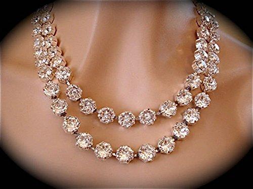 Amazon.com  Clear Diamond Cut Swarovski Crystal Two Strand Necklace   Handmade bd2978f16