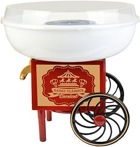 Gadgy ® Machine à Barbe à Papa Chariot | Appareil Cotton Candy | Utiliser Sucre Ordinaire ou Bonbons | Fete Foraine Anniversaire Enfant | Rouge Blanc
