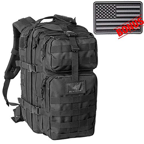 Exos Bravo Tactical Assault Backpack Rucksack. Great as a Bug Out Bag, Daypack, or Go Bag; for Hiking, or Camping. Molle Equipped & Hydration Pack Ready (Black w/Flag Patch)