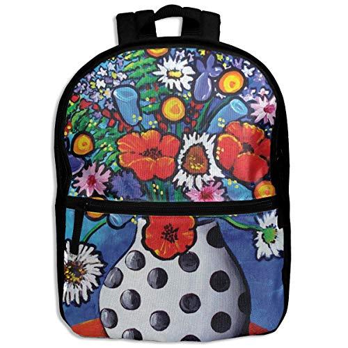 Kids Backpack Polka Dot Vase Bouquet School Hiking Travel Shoulder Bag Camping Daypack For Boys Girls