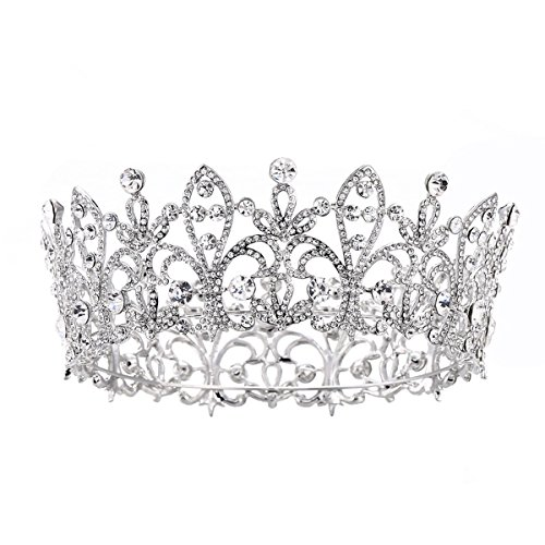 Eseres Princess Tiara Full Round Wedding Crown for Brides Women Birthday Crown … - Round Crown