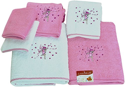 SALBAKOS Bath Towel Set for Kids - 6 Piece Set Includes Bath Towels and Washcloths - Fairy Theme Pink for Girls for $<!--$29.99-->