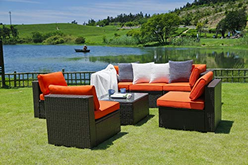 N&V Patio Furniture Set (7 Pieces) Modern Outdoor Furniture Sofas with Seat Cushions Pillows Tea Table Glass Top Lumbar Pad Blanket Fashion Couch Sets for Garden Backyard Pool …