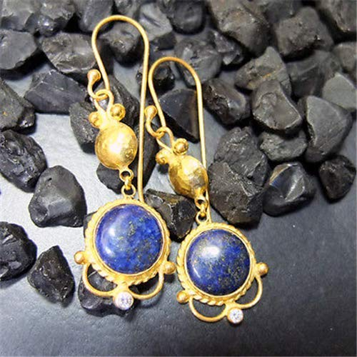 Ancient Design Jewelry Handmade Hammered Designer Lapis Long Earring 22K Gold Over Sterling Silver ()