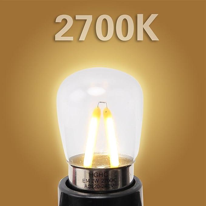 Bombilla nevera E14, edison bombilla LED 2W (Equivalente a 25W ...
