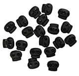 Bean Toggle 8012 BLACK 17mm Plastic Spring Single Hole Stop String Cord Locks - Assorted Sizes and Colours - Pack of 20