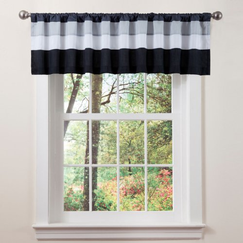 Triangle Home Fashions 19341 Lush Decor Iman Valance, White/Black (Decor Lush Fashions Triangle Home)