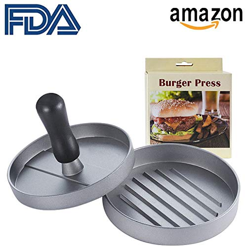 LIEMO Burger Press Aluminum Hamburger, Heavy Duty Non-Stick Patty Mold for Sliders Homemade Barbecue Irons Kitchen