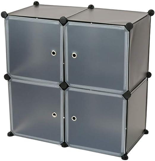 Armario Organizador Modular Estanter/ías de 4 Cubos de 35x35cm pl/ástico Blanco PrimeMatik