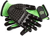 H HANDSON Hands-on Bathing/Grooming/Shedding Gloves Hands-on Green LG Gloves for Dogs, Cats, Horses, Livestock, Small Pet