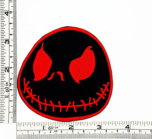 Black Red Jack the Skeleton Nightmare Before Christmas Halloween Disney Biker Motorcycle Patch Embroidered Iron on Hat Jacket Hoodie Backpack Ideal for - Price Club Polo Sport Red