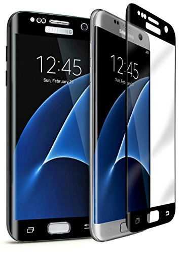 Bastex Samsung Galaxy S7 Edge 9-H Tempered Glass Screen Protector, Full Screen Coverage, High Definition, Clear Transparency, Anti-Bubble Shield with Black Faceplate for Samsung Galaxy S7 Edge