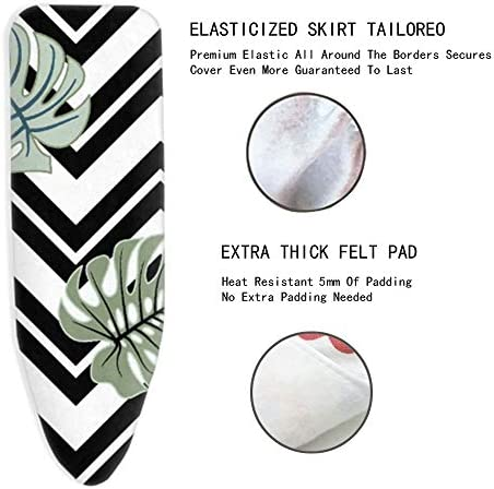 ZJBKX Ironing Board Cover Thick, With Drawstring Cord, Black And White Plant Stripes, With 4 Clips(130x30cm)