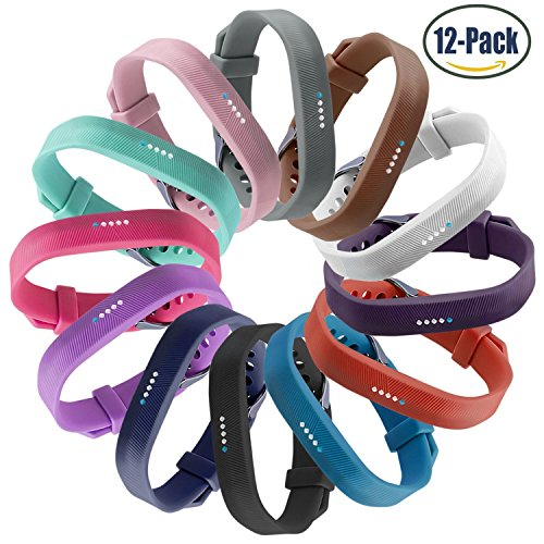 Fitbit Flex 2 Bands,Vetoo Replacement Band with Stainless Steel Buckle and Fastener for Fitbit Flex 2,Adjustable Accessories Bracelet & Strap for Small and Large Wrists,Pack of 12