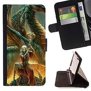 /Skull Market/ - SWORD CHARACTER MAGIC DRAGON FAIRYTALE For Samsung Galaxy S5 V SM-G900 - Caja de la carpeta del tir???¡¯???€????€??????&aci